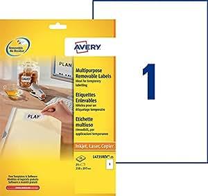 Avery 25 Etiquettes Autocollantes Amovibles (1 par Feuille) - 210x297mm - Impression Laser - Blanc (L4735REV)