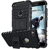 Huawei P8 Lite 2017 Case, Heavy Duty Shock Proof Rugged Armor Protective Phone Case,Dual Layer Hybrid Cover with Kickstand for Huawei P8 Lite 2017-Black