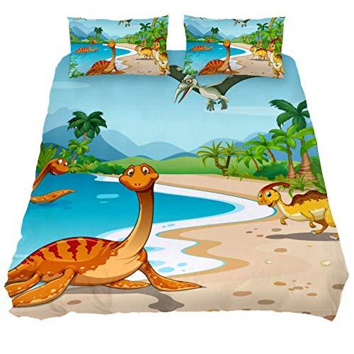 Bennigiry 3-teiliges Bettwäsche-Set mit Dinosaurier-Muster, superweiche Mikrofaser, für Teenager, Jungen und Mädchen, Polyester, Multi, Queen 88 x 90 \19 x 29 in