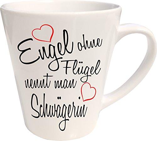 Mister Merchandise Kaffeebecher Latte Tasse Engel ohne Flügel nennt Man Schwägerin Hochzeit Bruder Heirat Geschenk Weihnachten Milchkaffee Becher konisch Weiß