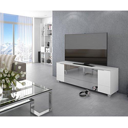 Maja Soundconcept Soundboard TV-Board 7772 in Weiss Glas matt/Grauspiegel 180x60x42cm