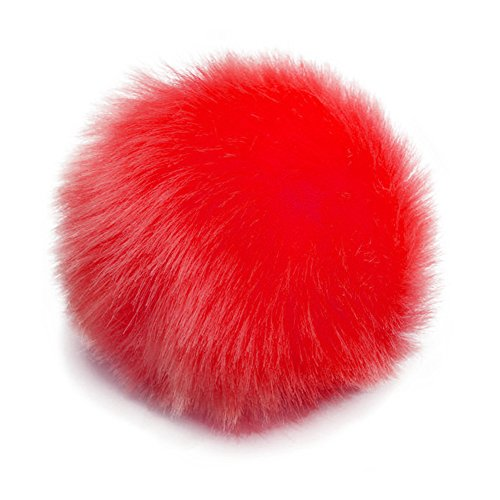 RotSale® Rot Plüschig Kugel Schlüsselanhänger Autoschlüsselanhänger Taschenanhänger Schlüsselring Weich Kunstfaser Ball Anhänger für Tasche Handy Rucksack Gepäck (Kunstfaser Rot)