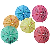 144pcs Papel Sombrilla Paraguas Parasol de Tropical Hawaiian Cocktail Bebida Cóctel