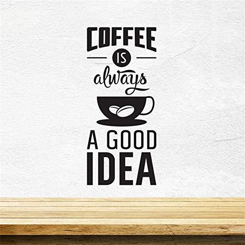 Preisvergleich Produktbild WWYJN Wall Decal Quotes Coffee Wall Sticker Bar Cafe Kitchen Poster Home Decor Removable Poster Art Decor Wall Sticker Black 58 X 133 cm
