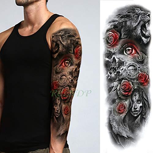 tzxdbh 5 Stücke-wasserdichte Tattoo Aufkleber Roaring Lion Eagle Vogel Brief Farbe Voller Arm Große Tattoo Tattoo Männer und Frauen 5 Stücke- -