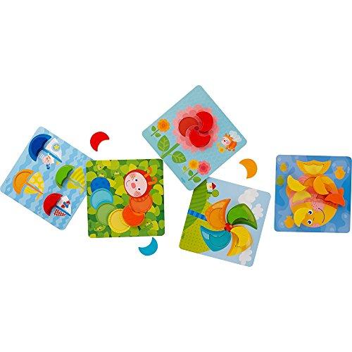 HABA 303710 - Zuordnungsspiel Farbenmonde   Farbenspiel mit 5 Motivkarten und 15 Holzbausteinen in unterschiedlichen Farben   Spielzeug aus Holz und Pappe ab 18 Monaten