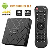 Bqeel TV Box Android 8.1 HK1 MAX / CPU RK3328 Quad-Core 64bit / 4G DDR3+64G EMMC / Dual WIFI 2.4/5G + 100M LAN, android TV boxBluetooth 4.0/USB 3.0/AV/Dolby/3D 4K Smart TV Box(usato)