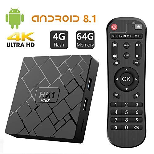 Bqeel Android TV Box【4GB+64GB】 Android 8.1 TV Box HK1 MAX mit RK3328 Quad-Core 64bit Cortex-A53 / WiFi 2.4GHz/5GHz/ 802.11 b/g/n Gigabit/ 4K HD Android Box Smart TV Box (128gb Media Player)
