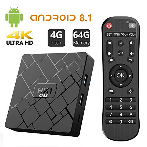 Bqeel TV Box Android 8.1 HK1 MAX / CPU RK3328 Quad-Core 64bit / 4G DDR3+64G EMMC / Dual WIFI 2.4/5G + 100M LAN, android TV boxBluetooth 4.0/USB 3.0/AV/Dolby/3D 4K Smart TV Box(usato)