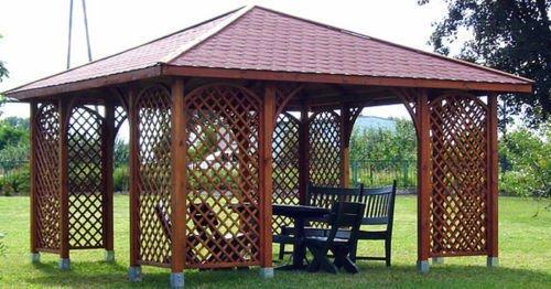 GARTENLAUBE HOLZ PAVILLON mit Holzdach 4m x 4m (äußer 4.45m)