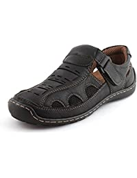 Albertiano Louis Wood Men Leather Sandal (black Color)