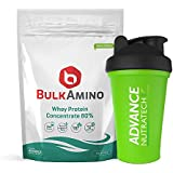Advance Nutratech Bulkamino Whey Protein Concentrate 80 % Raw Protein 1Kg(2.2Lbs) With Free Shaker With 33 Servings