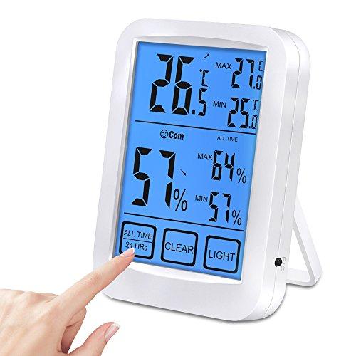 Vivibel Thermo-Hygrometer Thermometer Luftfeuchtigkeit Monitor mit Blau Hinterbeleuchtung 4,5 Zoll Groß LCD Display Min/Max Records für Schlafzimmer, Büro, Wohnzimmer
