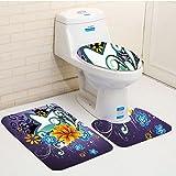 Keshia dwete tres piezas para inodoro asiento Pad custommodern diseño contemporáneo con estrellas flores y espirales con morado oscuro fondo multicolor