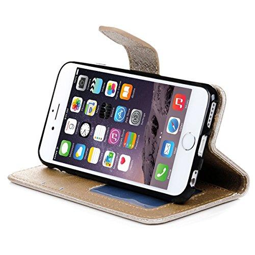 VertTek Coque iPhone 6S, Etui iPhone 6 (4.7 pouces) Étui Housse en Cuir Portefeuille à Rabat Flip Wallet Case Cover Fonction Support Fente Carte Card Slots Fermeture Aimanté Couverture Interne Silicon Or