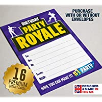 16 A6 Birthday Invites, Kids Video Game Party, Children Invitations, Boys, Girl (Without Envelopes)