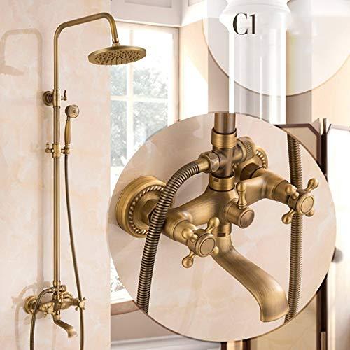 rhahn Set komplette Antik Messing Finish Wandhalterung mit Regen Duschkopf Handbrause und Badewanne Wasserhahn, Regenmischer Dusche Combo Set (Color : A) ()