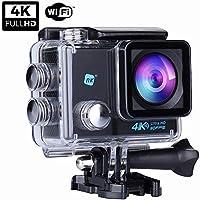 NK Grave Cámara Deportiva subacuática 4K (Ultra-Alta Definición) HD 16MP, WiFi - HDMI, Carcasa Impermeable 30M, 170º Gran Angular, Sensor Ultra-Avanzado Toshiba, 900mAh - 15 Accesorios Múltiples