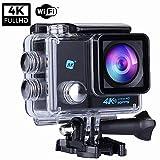 NK Grave Cámara Deportiva subacuática 4K (Ultra-Alta Definición) HD 16MP, WiFi - HDMI, Carcasa Impermeable 30M, 170º Gran Angular, Sensor Ultra-Avanzado Toshiba, 900mAh (15 Accesorios Múltiples)