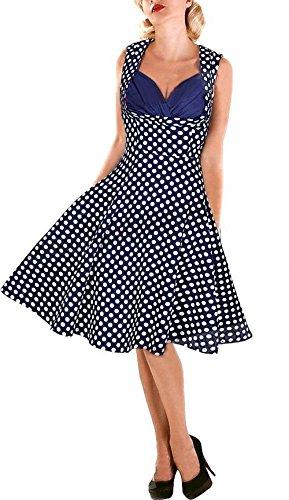 Babyonline Damen Kleid Ballkleid Knielang Sommer Abendkleid Freizeit Retro Party Rockabily Pinup Cocktailkleider Dunkelblau
