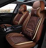 Leder All-Inclusive Four Seasons Sitzbezug Sitzkissen 5-Sitzer Komplettset mit Universal-Sitzbezug. Für Autositzbezüge mit Airbag kompatibel,Braun
