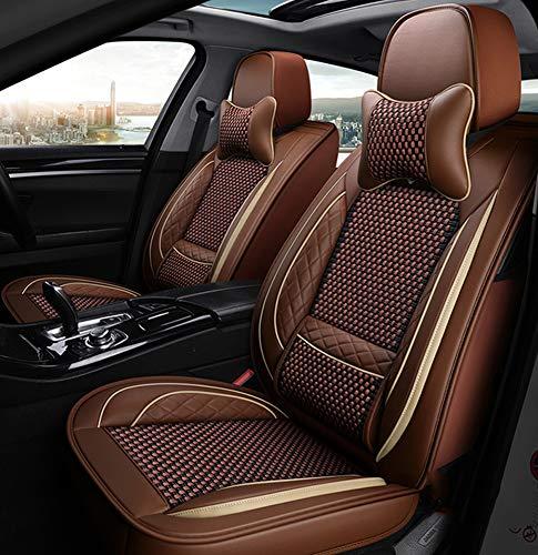 Leder All-Inclusive Four Seasons Sitzbezug Sitzkissen 5-Sitzer Komplettset mit Universal-Sitzbezug. Für Autositzbezüge mit Airbag kompatibel,Braun -