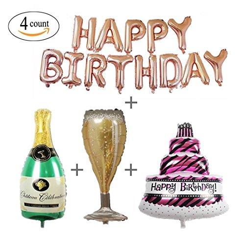 GuassLee 4 Paquete de Oro Rosa Happy Birthday Foil Globos Letras Banner Giant Champagne Bottle Goblet 3 Capas Grandes de la Torta Mylar Foil Globos Fiesta de cumpleaños Decoraciones Kit