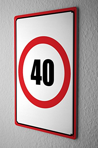 Blechschild Warnschild Geburtstagskarte Geburtstag 40 Zahl in roten Kreis comic cartoons Satire 20x30 cm Metallschild Schild Wanddeko Deko Dekoration Retro Werbung