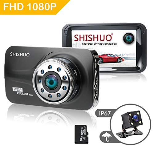 SHISHUO Dash Cam Front and Rear - 16GB Micro SD Card Included True HD 1080P  3