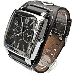 QBD Men's Students Boys Square Leather Cuff Belt Watch (Black)
