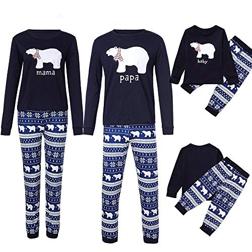 Riou Weihnachten Familie Pyjamas Set Daddy Small Bear Gedruckt Nachtwäsche Schlafanzug Homewear für Kinder Mama Dad Baby Kleidung Set Kinder Pullover PJS Weihnachten Outfits (S, Dad)
