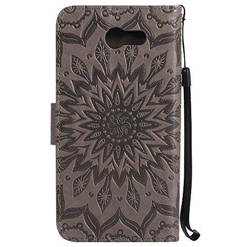 Für Samsung Galaxy J3 2017 Fall, Prägen Sonnenblume Magnetische Muster Premium Soft PU Leder Brieftasche Stand Case Cover mit Lanyard & Halter & Card Slots ( Color : Brown ) Gray