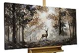 KunstLoft® Acryl Gemälde 'Stag in the Brume' 120x60cm | original handgemalte Leinwand Bilder XXL | Tier Hirsch Natur Wald | Wandbild Acryl bild moderne Kunst einteilig mit Rahmen