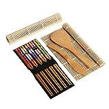 BRone Kit de Fabrication de Sushi, Complet Bambou Kit de Fabrication de Sushi 2 Pcs Naturel Bambou Tapis Roulant de Sushi Cuillère de Riz Épandeur de Riz 5 Paires de Baguettes