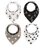 CHIRORO Baby Dreieckstuch Lätzchen 4er Pack Saugfähig Weich Spucktuch Halstücher Mit Druckknöpfen für Baby Jungen Mädchen Kleinkinder,Gedrucktes Muster,Design 6