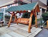 Casa Padrino Garten Schaukel Rustikal überdacht Hollywood Schaukel Mod S2 - Eiche Massivholz - Echtholz Massiv
