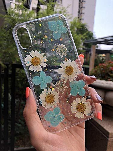 Echte Blume Hülle für iPhone XS, iPhone X, Elegante weiche Silikon TPU Gel Cover mit Handgemachten gepressten getrockneten Blumen & Blatt, Blue #2 (Getrockneten Gepressten Blumen)