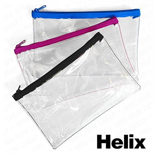 Drei Helix Federtasche PVC farbiger Reißverschluss 200x 125mm transparent Prüfung, 1von jeder Farbe schwarz, blau und violett Reißverschluss (Prüfungen 125)