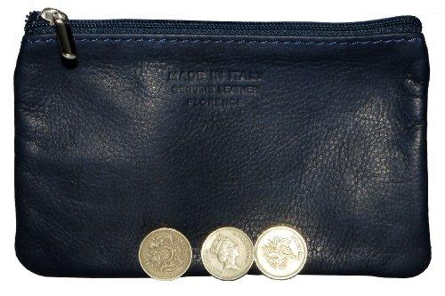 Italiano in morbida pelle con zip portamonete, portamonete o titolare di carta di credito del debito. Grande blu Navy