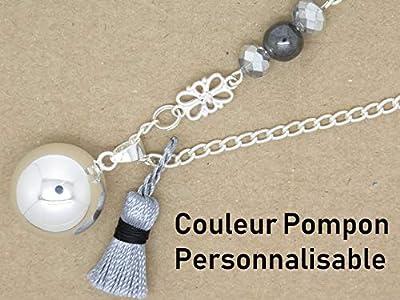 Bola De Grossesse Lisse Argent Plaque Pompon Et Pierre Fine Cadeau Future Maman, Cadeau De Grossesse