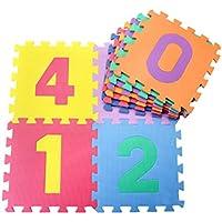 Jiyaru 10 PCS Infantil Alfombra Puzzle para Niños Manta De Espuma De Suelo Números Para Niños Número De Mat Educación Juguetes