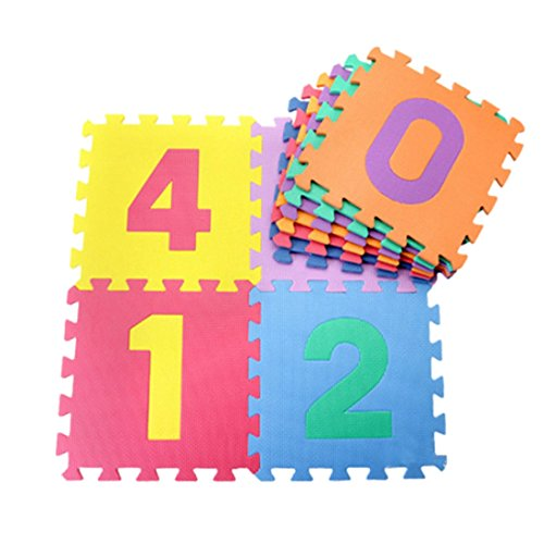 Jiyaru 10 PCS EVA alfombra almohadilla alfabeto Número rompecabezas bebé rastrear juego niños estera