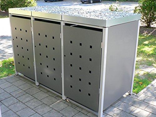 Metall Mülltonnenbox für 3 Tonnen RAL grau / anthrazit, Müllcontainer, Müllbox. Made in Germany. # Größe: Für 3 Tonnen bis 240 l # Farbe: Farbenauswahl per EMail angeben # Dach: Mit Pflanzwanne # Stanzung: ST 3/5 - 2