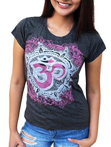 Yoga Tees - Omtimistic Damen Hindu Om Symbol T-Shirt X-Large (Cute Hippie Outfit)