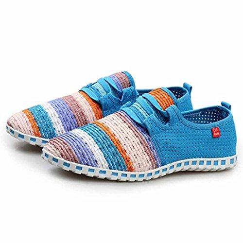 Unisex Popular Geometric Pattern Super Light Walking Shoes men sky blue