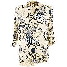 Moda Italy Damen Schlupfbluse Bluse Fischerhemd mit Sternen Muster V- Ausschnitt und Langen Ärmel mit 2f820adccb
