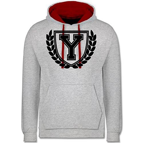 Anfangsbuchstaben - Y Collegestyle - Kontrast Hoodie Grau Meliert/Rot