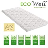 ECO WELL VISCO Memory Schaum Topper BEZUG Basic PIK MATRATZENAUFLAGE GESTEPPT 6 cm 90 x 200