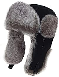 Ladies or mens good quality Black Leather style With fake fur Trim trapper, ushanka Hat , Available in 3 sizes 58cm ,59cm and 60cm .Great hat for the coldest of weather . (59cm)