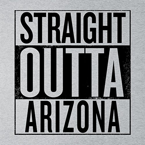 Black Text Straight Outta Arizona US States Womens Hooded Sweatshirt Heather Grey